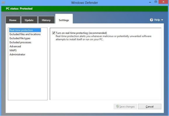 Windows 8 Antivirus Defender SettingsTab