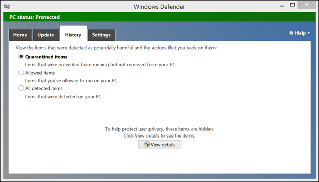 Windows 8 Antivirus Defender History Tab
