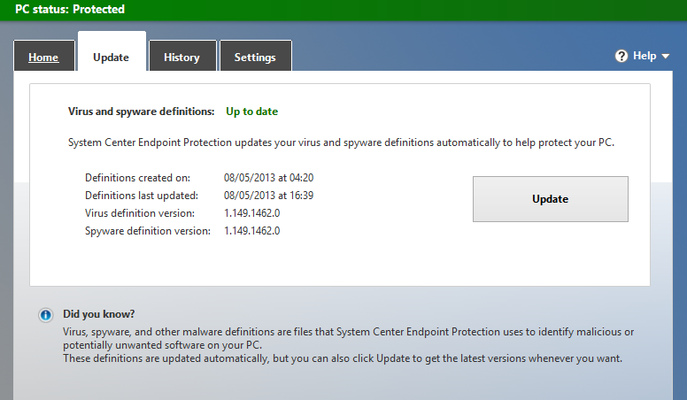 Windows 8 Antivirus Defender Update Tab