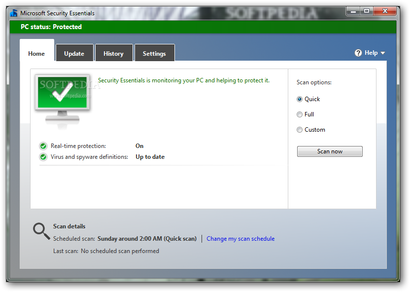 Windows 8 antivirus defender Home Tab